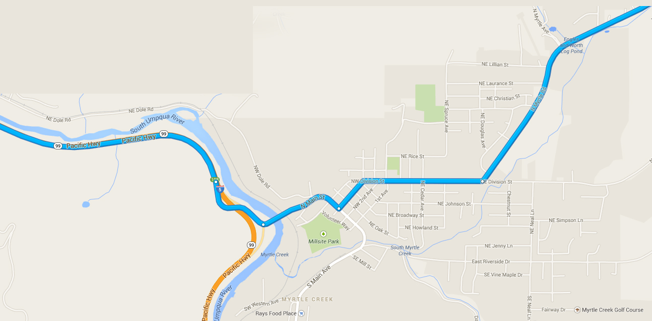 Map of how to get through Myrtle Creek.