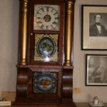 A Seth Thomas Clock that rests on an original fireplace in the Lane Room of the museum.
